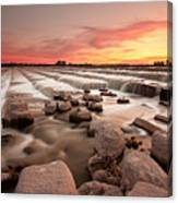 The Sunset By Dam Canvas Print