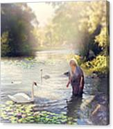 The Swan And The Fairy  Canvas Print
