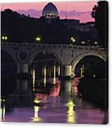 The Tiber River And The Dome Of St Canvas Print