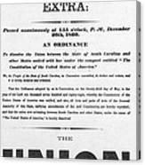 The Union Is Dissolved, 1860 Broadside Canvas Print