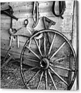 The Wagon Wheel Bw Canvas Print