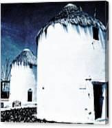 The Windmills Of Mykonos - Textured Blue Canvas Print