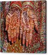 The Wonderfully Decorated Hands And Clothes Of An Indian Bride Canvas Print