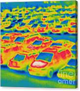 Thermogram Of A Parking Lot Canvas Print