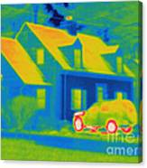 Thermogram Of Car In Front Of A House Canvas Print