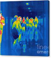 Thermogram Of Students In A Hallway Canvas Print