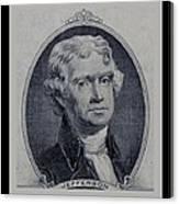 Thomas Jefferson 2 Dollar Bill Portrait Canvas Print