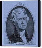 Thomas Jefferson In Cyan Canvas Print