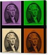 Thomas Jefferson In Quad Colors Canvas Print