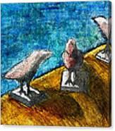 Three Birds Blue Canvas Print