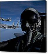 Three F-15 Eagles Fly High Canvas Print