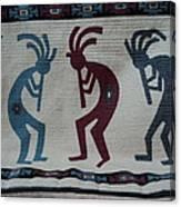 Three Flute Players Kokopelli Style Canvas Print