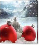 Three Red Christmas Balls In The Snow Canvas Print
