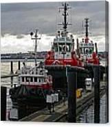 Three Red Tugs Canvas Print