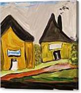 Three Yellow Houses With Picture Windows Canvas Print