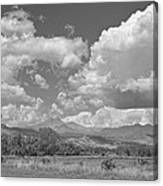 Thunderstorm Clouds Boiling Over The Colorado Rocky Mountains Bw Canvas Print