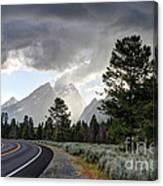 Thunderstorm On Grand Teton Road Canvas Print