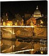 Tiber River And Ponte Vittorio Emanuele II Bridge With St. Peter's Basilica. Vatican City. Rome Canvas Print