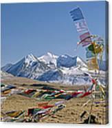 Tibetan Buddhist Prayer Flags Atop Pass Canvas Print