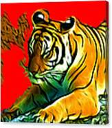 Tiger - 3825 - Red Canvas Print