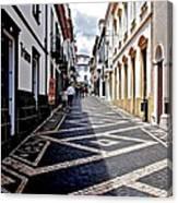 Tiled Street Of Ponta Delgada Canvas Print