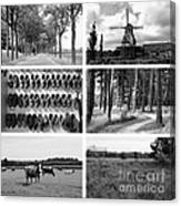 Timeless Brabant Collage - Black And White Canvas Print