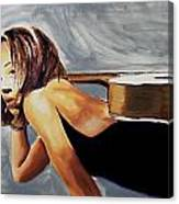 Tonya With Guitar On Back Canvas Print