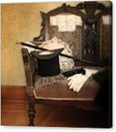 Top Hat And Cane On Sofa Canvas Print