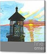 Top Of A Lighthouse At Sunset Canvas Print
