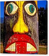 Totem Pole With Tongue Sticking Out Canvas Print
