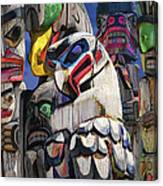 Totem Poles In The Pacific Northwest Canvas Print