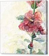 Touch Of Summer Hollyhocks Watercolor Canvas Print