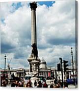 Tourists At Trafalgar Square Canvas Print