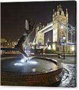Tower Bridge Girl With A Dolphin Canvas Print