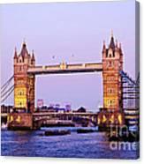Tower Bridge In London At Dusk Canvas Print