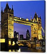 Tower Bridge In London At Night Canvas Print
