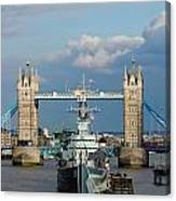 Tower Bridge With Hms Belfast Canvas Print