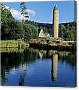 Tower Near A Lake, Round Tower, Ulster Canvas Print