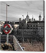 Tower Of London With Tube Sign Canvas Print