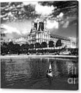 Toy Boating In A Parisian Park Bw Canvas Print