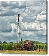 Tractor And Old Windmill Canvas Print