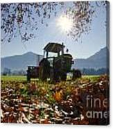 Tractor In Backlight Canvas Print