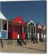Traditional Beach Huts On The Seafront Canvas Print