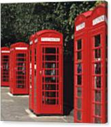 Traditional Red Telephone Boxes In London, England Canvas Print