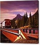 Train Going Over A Bridge Banff Canvas Print