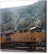 Train In Spanish Fork Canyon Canvas Print