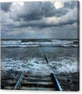 Train Tracks Into The Sea Canvas Print