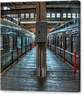 Trains - Two Rail Cars In Roundhouse Canvas Print
