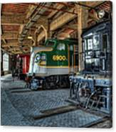 Trains - Engines Railcars Caboose In The Roundhouse Canvas Print