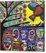 Tree Of Life People Blue Bird Canvas Print